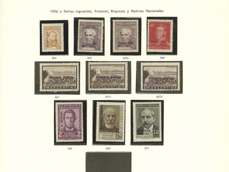 Lot 1944 - Argentina OFFICIAL STAMPS - COLLECTIONS -  Guillermo Jalil - Philatino Auction # 2128 ARGENTINA: 'Clearance' auction with very low starts and many interesting lots!