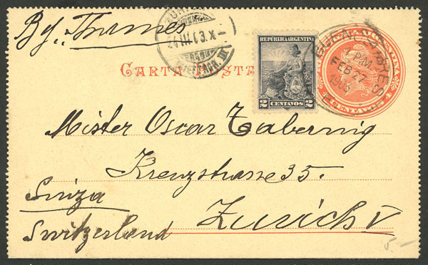 Lot 2056 - Argentina postal history -  Guillermo Jalil - Philatino Auction # 2128 ARGENTINA: 'Clearance' auction with very low starts and many interesting lots!