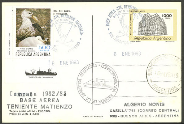 Lot 3 - argentine antarctica postal history -  Guillermo Jalil - Philatino Auction # 2130 ARGENTINA:
