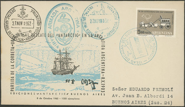 Lot 8 - argentine antarctica postal history -  Guillermo Jalil - Philatino Auction # 2134 ARGENTINA: Fun auction including rarities of all periods