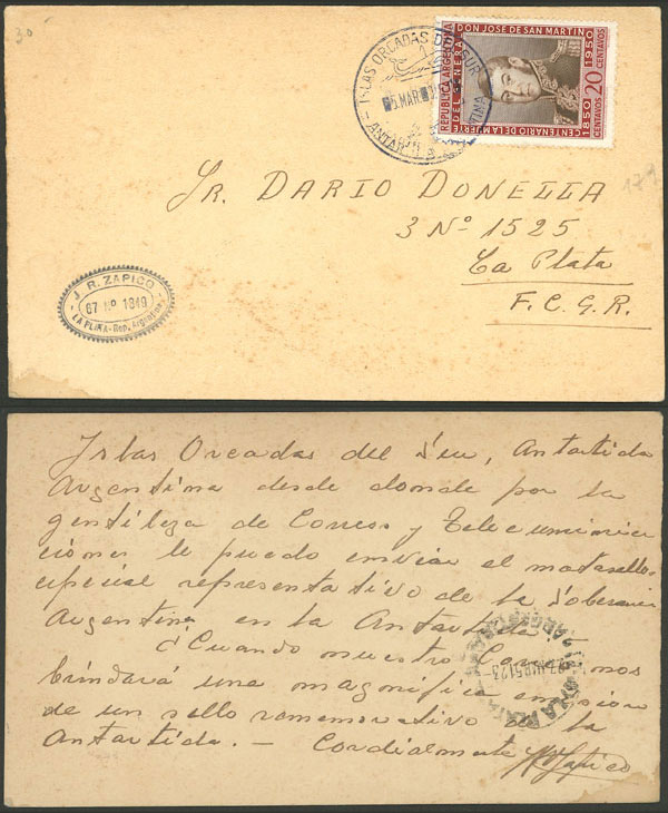 Lot 3 - argentine antarctica postal history -  Guillermo Jalil - Philatino Auction # 2134 ARGENTINA: Fun auction including rarities of all periods