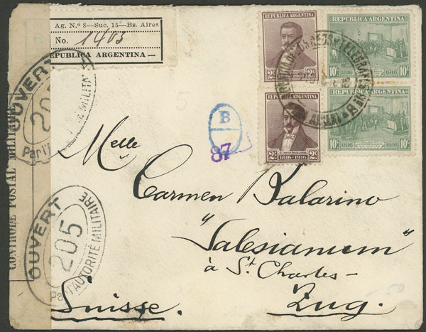 Lot 158 - Argentina postal history -  Guillermo Jalil - Philatino Auction # 2136 ARGENTINA: Selection of good pieces of the Tumarkin collection (part I)