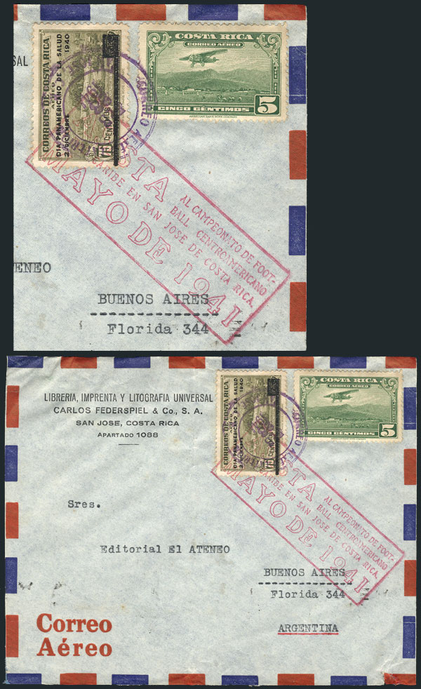 Lot 14 - topic football postal history -  Guillermo Jalil - Philatino Auction # 2141 WORLDWIDE + ARGENTINA: General November auction